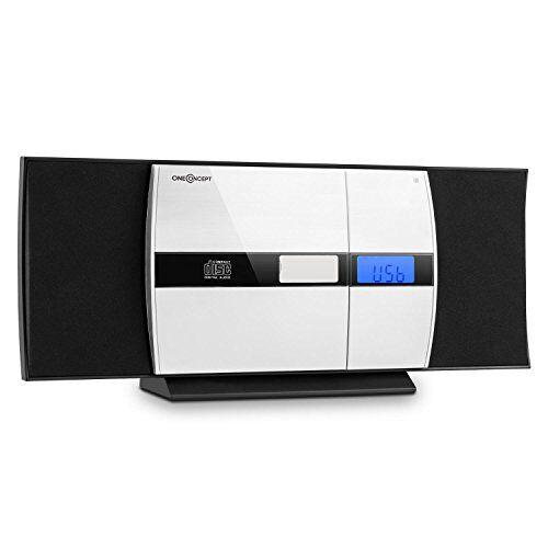 oneconcept v-15 - mini impianto stereo compatto, lettore cd mp3, schermo alluminio, display lcd, porta usb mp3, aux-in, radio vhf, sveglia, bass-boost, montaggio parete, nero