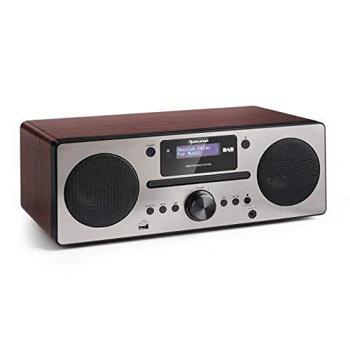 auna harvard - ah2 , mini stereo compatto , radio dab , radio digitale , dab/dab+/fm , stazioni memorizzabili , display lcd , bt , telecomando , lettore cd , usb , funzione sveglia , color noce