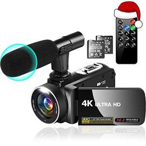 """YinFun Videocamera 4K Videocamere 30MP 18X Videocamera Digitale per Vlogging con Luce completa a LED Videocamere Touchscreen IPS Da 3,0""""con Microfono, 2 Batterie, Anti-Shake"""