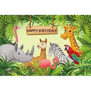 HUAYI 220x150cm Fumetto Giungla Safari Animali Sfondo Fotografia Sfondo Fondali Bambino Bambini Festa di Compleanno Banner Decor Baby Shower Photo Booth Studio Puntelli W-630