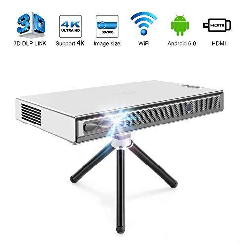 TOUMEI T5 Mini Proiettore Portatile, 200 ANSI Lumens Proiettore Mini, Wifi Proiettore DLP Android Home Cinema, Supporto 1080P 4K HDMI 3D DLP-LINK, Compatibile con Fire TV Stick / PS3 / PS4 - Argento