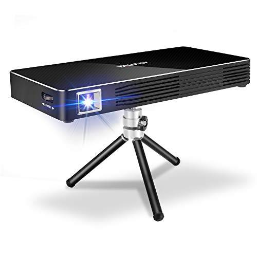 yaufey Mini Proiettore Portatile, WiFi Android 7.1 Video Proiettore DLP, Cinema Domestico 1080P Full HD con l'ingresso di HDMI per Il iPhone/Android/Gaming/Laptop/TV Box