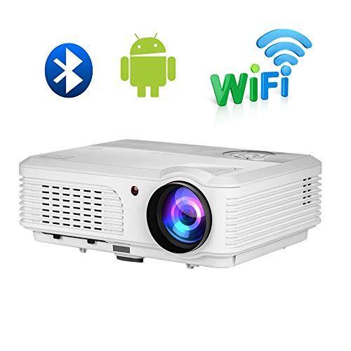 EUG 4200 lumen WiFi Proiettore All'aperto Home Theater Supporto 1080P WXGA HD LED LCD Bluetooth senza fili Videoproiettore con HDMI USB VGA AV Audio Android per iPhone iPad TV DVD Desktop PC portatile
