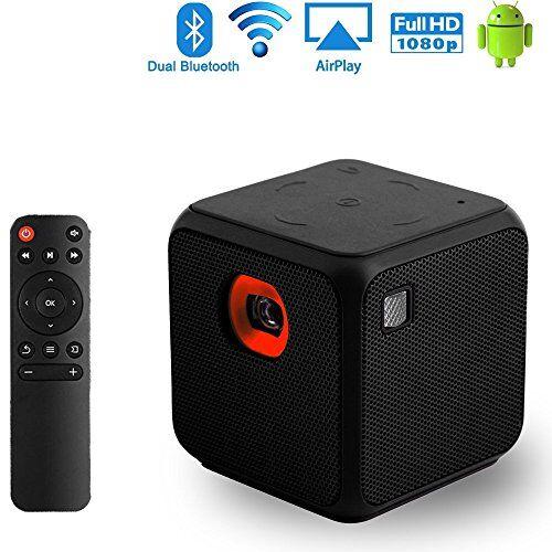 Sysmarts Mini Proiettore, Sysmarts Proiettore Portatile Pocket Size per iPhone e Android, Dual Band WiFi Home Theater Proiettore cinematografico con FULL HD 1080P Bluetooth USB (Nero)