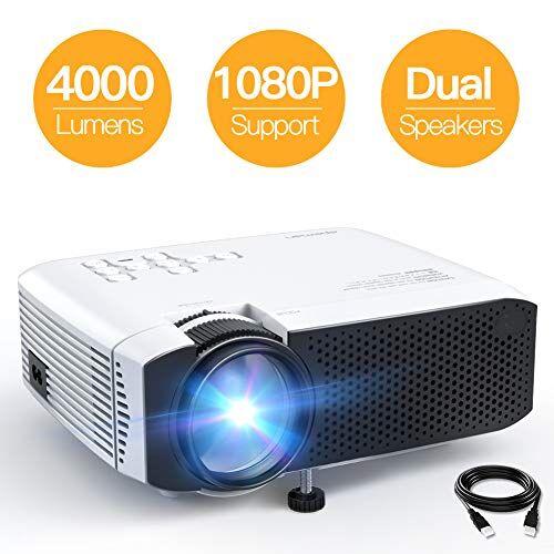 APEMAN Proiettore APEMAN 4000 Lumen Mini Videoproiettore Portatile Compatibile 1080P Dppio Altoparlante 50000 Ore LED [Aggiornato] Cinema Domestico HDMI/USB/VGA/Micro SD Supporto Android IOS TV Box