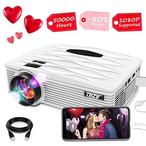 THZY Proiettore Portatile HD da 2400 Lumen Videoproiettore Mini Video Proiettore per Home Cinema 1080P, con Cavo HDMI Gratuito USB/SD/VGA/AV