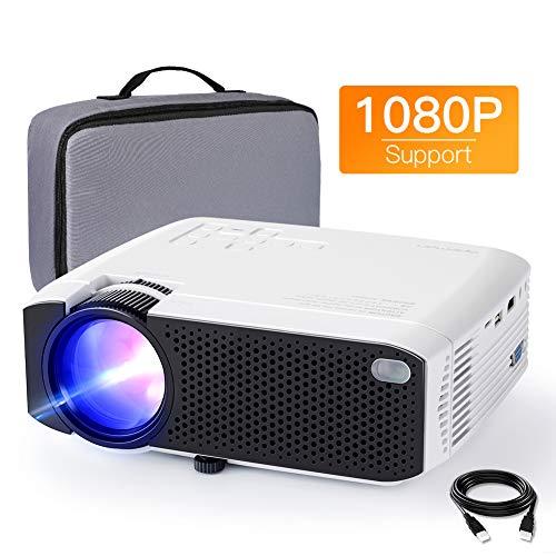 APEMAN Mini Proiettore Portatile Cellulare Home Theater, 4000 Lumen LED Videoproiettore Full HD 1080P Basso Rumore Doppio Altoparlante 50000 Ore, Supporto Laptop / TV Box / Telefono / PS4