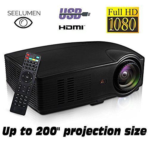 Seelumen Proiettore Full HD 1080P, Seelumen PJW100 (2019 Nuovo) Videoproiettori LED 3200 lumen Proiettori LED portatile, LCD 1920x1080, 2 HDMI, VGA, 2 USB, per PS4, Xbox, Switch, PC, Bluray (Nero)