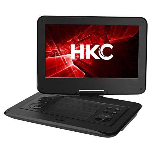 hkc d13hm01: lettore dvd portatile da 13,3 pollici (33,8 cm), schermo girevole, scheda sd, porta usb con batteria, telecomando e caricabatteria per auto, nero