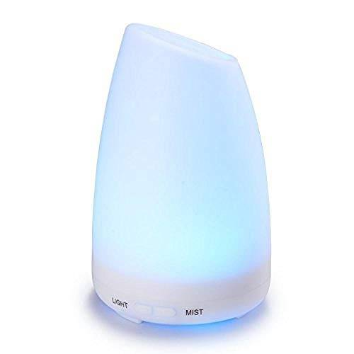 MXLOCDER Umidificatore 100 ml di aromaterapia macchina ad ultrasuoni nebbia fredda umidificatore purificatore d'aria olio essenziale con 7 luci LED che cambiano colore yoga