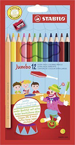 stabilo matita colorata ecosostenibile con mina xxl - stabilo jumbo - astuccio da 12 - colori assortiti