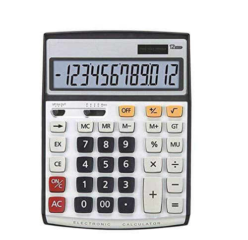NO 02 BY Calcolatrice Elettronica Solare Finanza Informatica A 12 Bit Bottone Di Plastica Spegnimento Automatico Ampio Display (2 pcs Calcolatrice)
