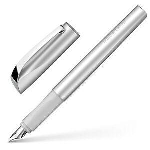 Schneider, penna stilografica Ceod Shiny, per mancini e destrorsi, pennino M, inclusa cartuccia di inchiostro blu reale, colore grigio pietra