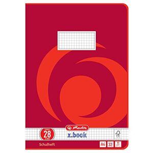Herlitz - Quaderni formato A4, 32 pagine, a righe con sfondo colorato; certificazione FSC; confezione da 10 pezzi, motivi assortiti A4, 32 fogli, rigatura 28, 5 pezzi
