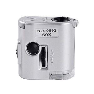 SDS Mini lente d'ingrandimento portatile con luce a LED e luce contraffatta UV, microscopio 60 volte leggero e portatile, facile da trasportare, adatto per l'identificazione di gioielli, osservazione biol