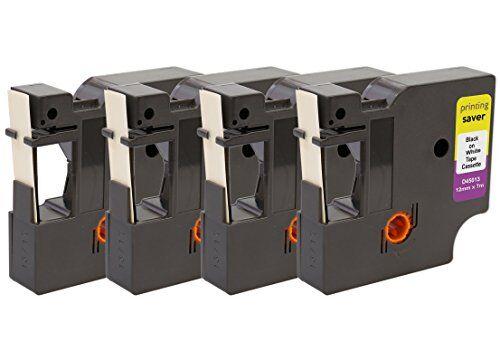 Printing Saver 4x D1 45013 S0720530 Nero su Bianco 12 mm x 7 m Nastro per Etichette compatibile per DYMO LabelManager LM 100 160 200 210D 280 360D 400 420P 500TS PnP LabelWriter 450 Duo Etichettatrici