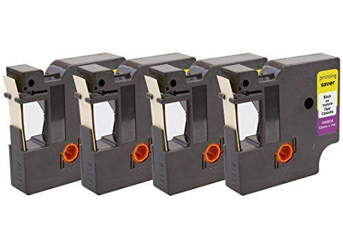 Printing Saver 4x D1 45018 S0720580 Nero su Giallo 12 mm x 7 m Nastro per Etichette compatibile per DYMO LabelManager LM 100 160 200 210D 280 360D 400 420P 500TS PnP LabelWriter 450 Duo Etichettatrici