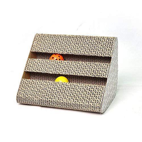 jiaxingo gatto preferito durevole tiragraffi giocattoli divertenti a duplice uso scratch box scatola di carta ondulata con la sfera campana della pet forniture pt0060