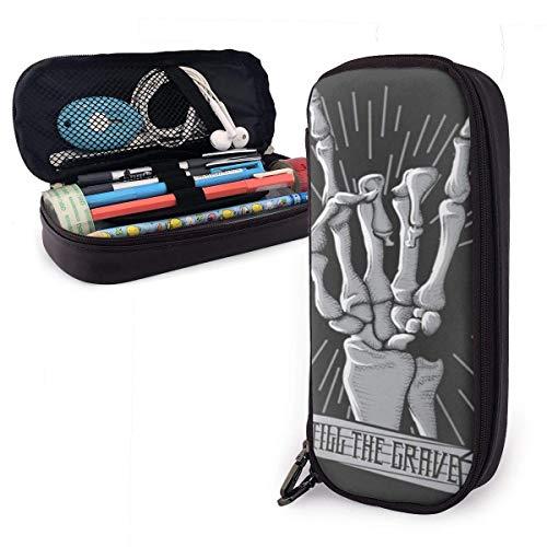 Auld-Shop Skeleton Hand Music Custodia rigida per penna Astuccio in pelle Astuccio in pelle Astuccio con doppia cerniera Scatola per ufficio scolastico Ragazze Ragazzi Adulti