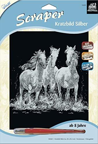 mammut immagini scratch tiragraffi. argento grandi - cavalli selvaggi 20x25cm