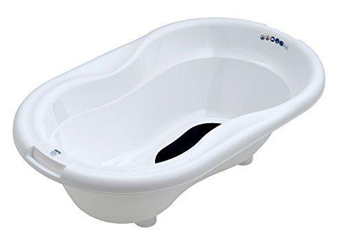rotho babydesign top vaschetta per bagnetto, tappetino antiscivolo e tappo di scarico, 0-12 mesi, top, bianco, 200010001
