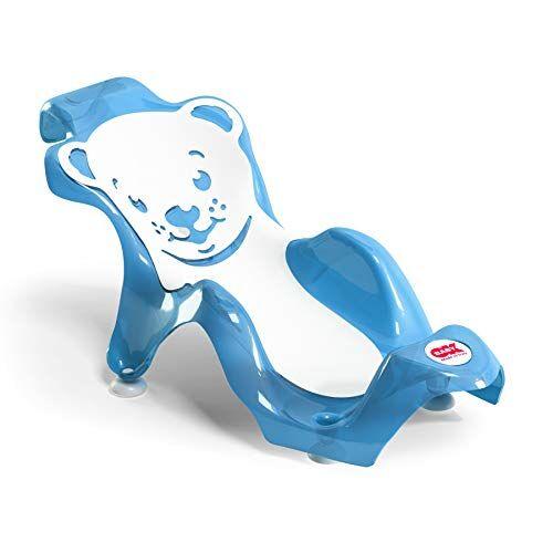okbaby buddy - sdraietta anatomica con seduta in gomma antiscivolo per il bagnetto del neonato 0-8 mesi (8 kg) - blu