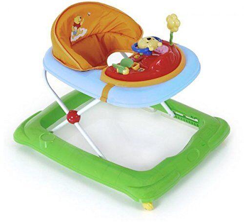 hauck player disney girello bambino da 6 mesi a 12 kg, primi passi con musica, con centro giochi e ruote, seduta imbottita rimovibile, regolabile in altezza, pooh (multicolore)