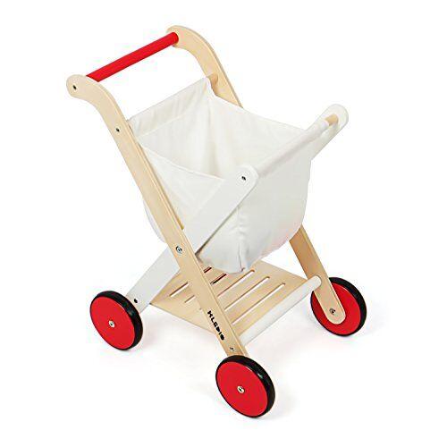 kledio carrello della spesa giocattolo per bambini in legno fsc® 100 % - gioco per bimbi dai 3 anni in su   adatto anche come girello per i primi passi   gioco sicuro e stimolante