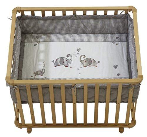 roba box 'jumbotwins', misure interne 75x100 cm, box per giocare in sicurezza incluso paracolpi e ruote, legno naturale