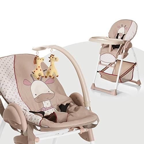 hauck sit n relax seggiolone pappa 3 in 1, sdraietta neonati con posizione nanna, arco giochi, ruote, vassoio regolabile in altezza, evolutivo, pieghevole, giraffe