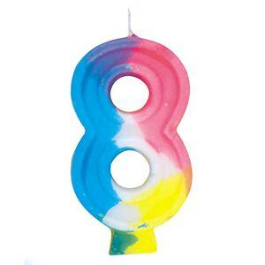 Unique Party 350-8 - Candela di compleanno con numero 8 arcobaleno