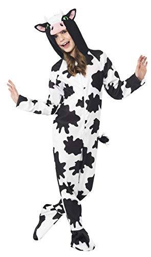smiffy's smiffys costume da mucca, bianco e nero, tuta integrale con cappuccio