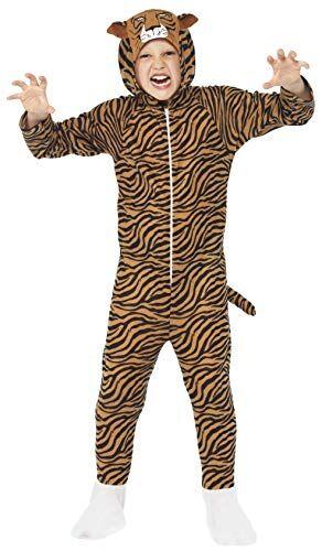 smiffy's smiffys costume da tigre, tuta integrale con cappuccio
