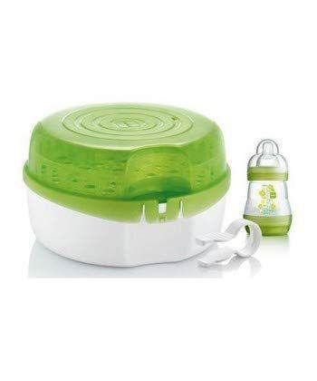 mam sterilizzatore per microonde, sterilizzatore biberon, ciucci e accessori neonato, pratico sterilizzatore a vapore da usare in microonde, verde - 1.18 kg