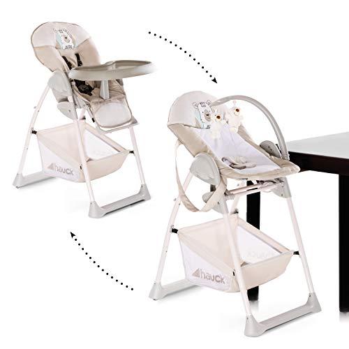 hauck sit n relax seggiolone pappa 3 in 1, sdraietta neonati con posizione nanna, arco giochi, ruote, vassoio regolabile in altezza, evolutivo, pieghevole, friend