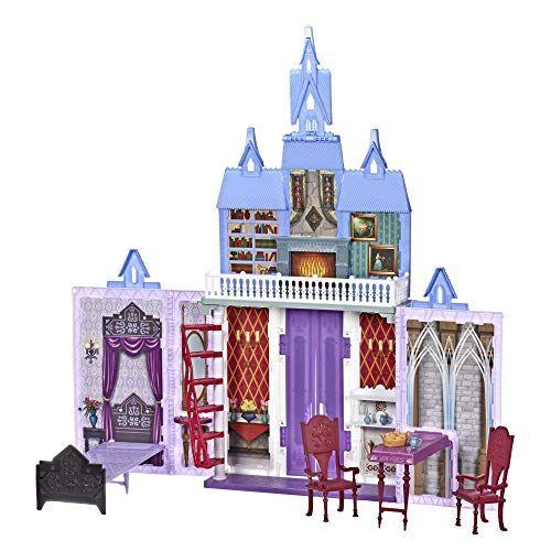 hasbro disney frozen 2 - castello di arendelle pieghevole, casa delle bambole ispirata al film disney frozen 2, gioco portatile adatto a bambini dai 3 anni in su