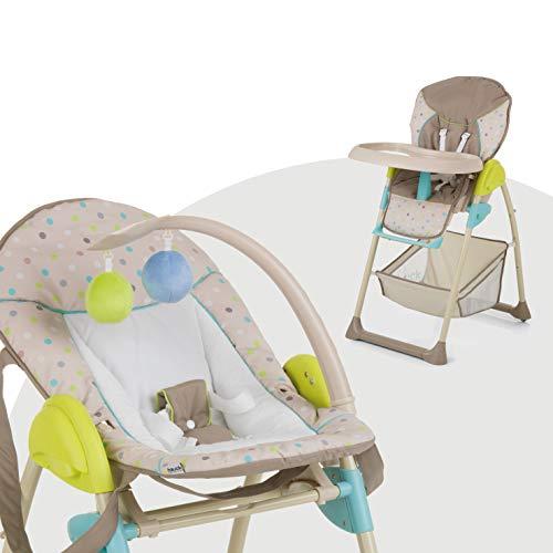 hauck sit n relax seggiolone pappa 3 in 1, sdraietta neonati con posizione nanna, arco giochi, ruote, vassoio regolabile in altezza, evolutivo, pieghevole, dots sand