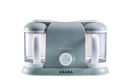 béaba babycook duo robot da cucina 4-in-1 frullatore, dispositivo di cottura e vaporiera, cottura a vapora in 15 minuti, alimenti preparati per neonati e bambini, capacit xxl 2 x 200 ml, grigio