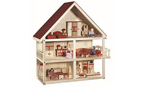 roba casa delle bambole, con mobili e bambole inclusi, legno naturale
