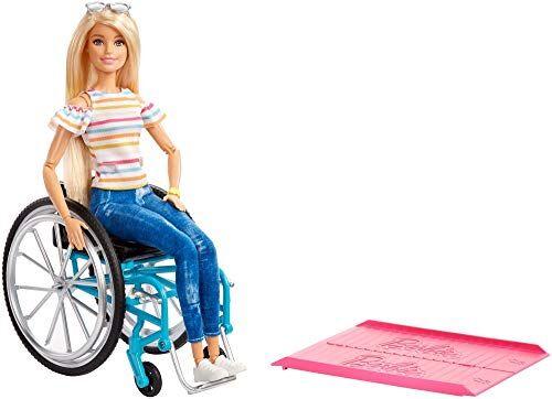 barbie fashionistas, bambola in sedia a rotelle, giocattolo per bambini 3+ anni, ggl22