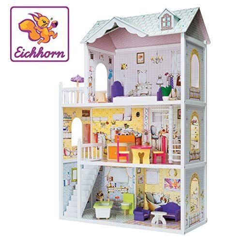 eichhorn 100002510casa delle bambole con mobili e accessori, multicolore