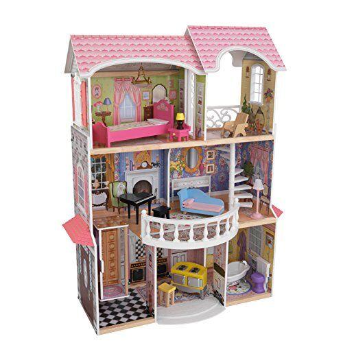 kidkraft 65907 casa delle bambole in legno magnolia mansion per bambole di 30 cm con 13 accessori inclusi e 3 livelli di gioco