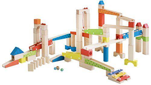 roba pista delle biglie grande in legno, 100 pezzi, con mattoncini da costruzione in legno con effetti sonori e biglie in vetro, gioco motorico con varie possibililtá di composizione