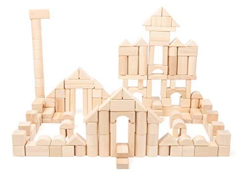 small foot-11397 mattoncini da costruzione in legno, set da 200 pezzi comprensivo di ponti, cilindri, triangoli e molto altro giocattoli, multicolore, 11397