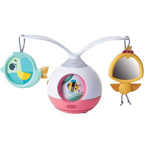 tiny love tummy time mobile giostrina musicale per bambini e gioco per i momenti a pancia in gi, con suoni e musica, giostrina culla e passeggino, collezione tiny pricess tales, rosa