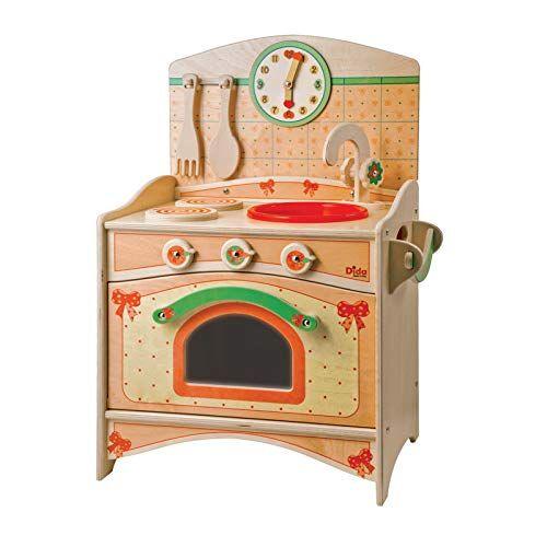Dida - Cucina Giocattolo per Bambini in Legno - Il Trio: lavello, fornelli, Forno - Gioco d'imitazione