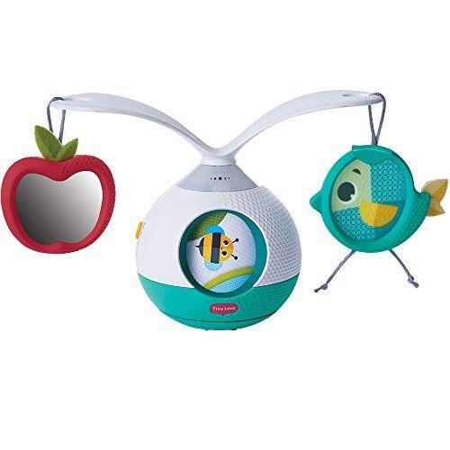 tiny love 3333130601 tummy time mobile giostrina musicale per bambini e gioco per i momenti a pancia in gi, con suoni e musica, giostrina culla e passeggino, collezione meadow days, azzurro