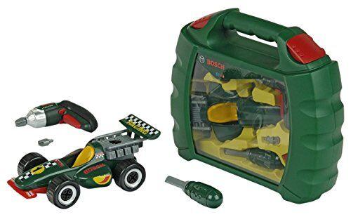 theo klein 8375 valigetta bosch grand prix, con avvitatore a batteria ixolino alimentato a batterie, auto da corsa smontabile in 10 pezzi, 32 cm x 26 cm x 9 cm, giocattolo bambini a partire dai 3 anni