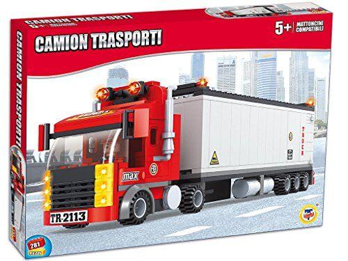 teorema 64784 - set costruzioni click clack mattoncini compatibili camion trasporti