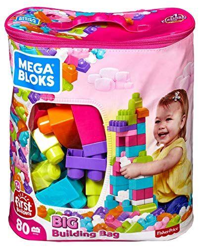 mega mattoncini big building bag sacca ecologica blocchi da costruzione, giocattolo per bambini 1+ anni, multicolore, 80 pezzi, dch62